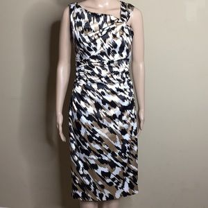 Maggy London Black, White and Gold Satin Size 4